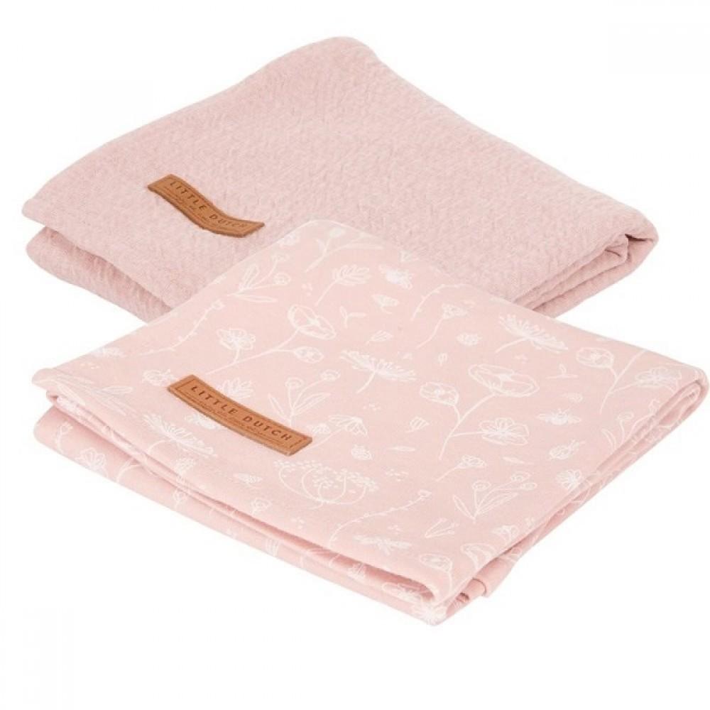 Бебешки Пелени 2 броя 70 х 70 cm Wild Flowers Pink & Pure Pink
