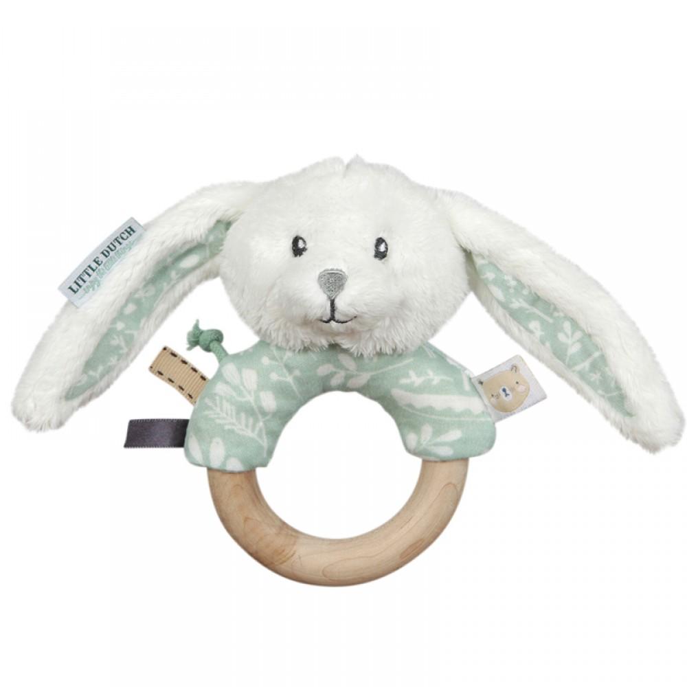 Дрънкалка с Дървен Пръстен - Зайче Mint