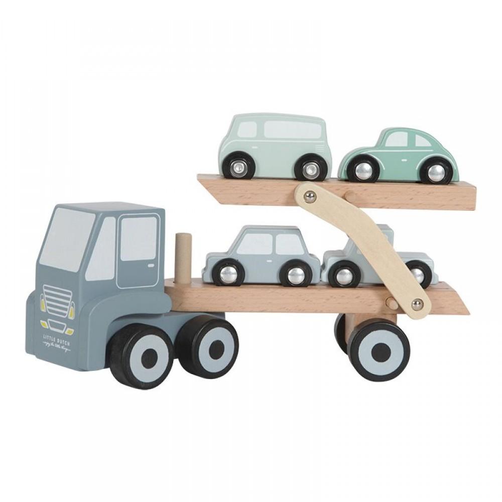 Дървен Автовоз с 4 колички Little Dutch