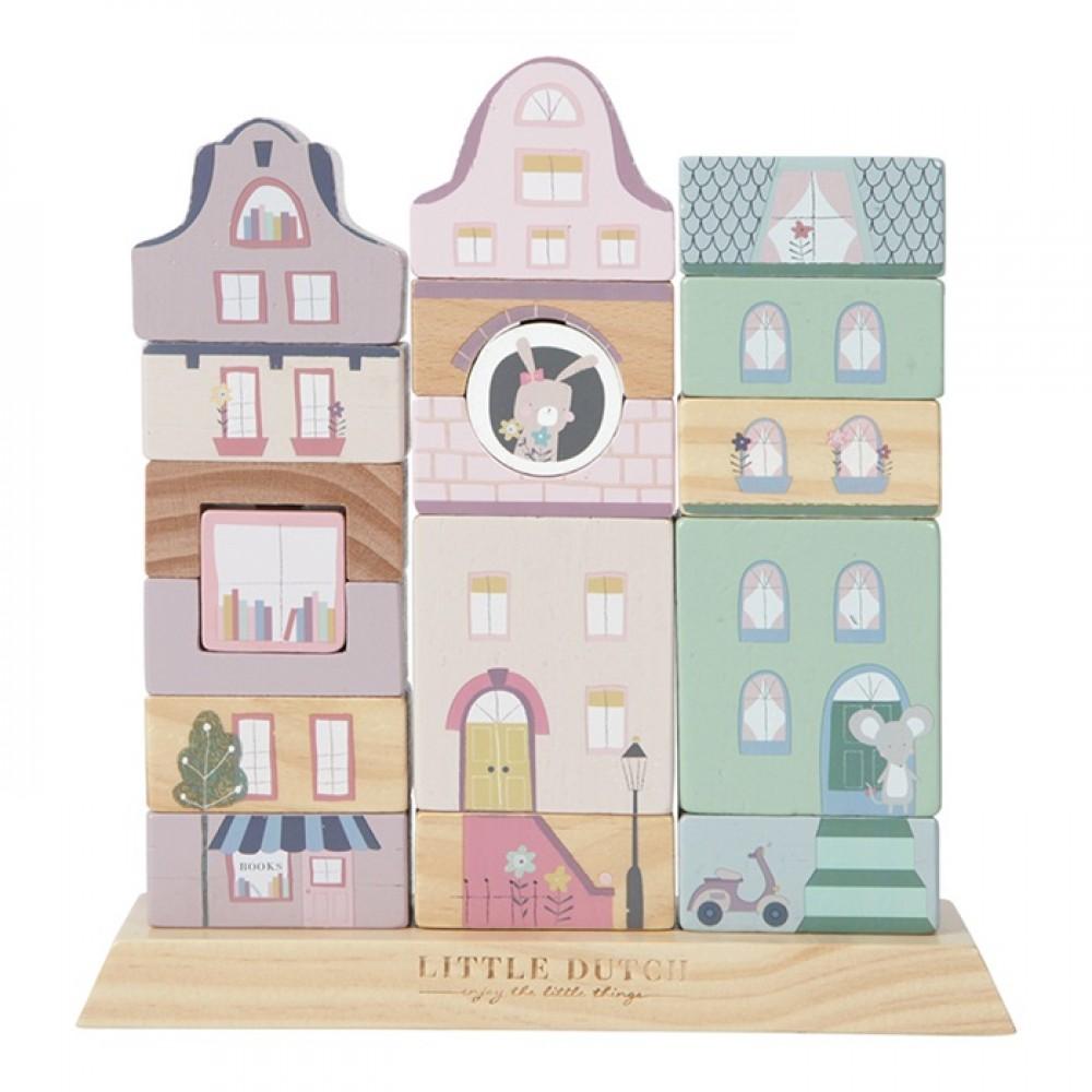 Дървена Низанка с кубчета Холандски Къщички Pink