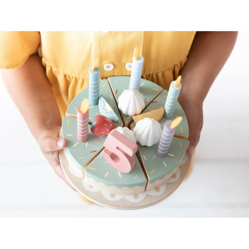 Детска Дървена Торта със Свещи и Аксесоари Litte Dutch