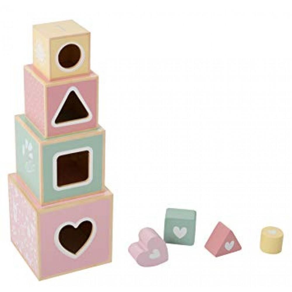 2 в 1 - Дървени Пирамида и Сортер Pink