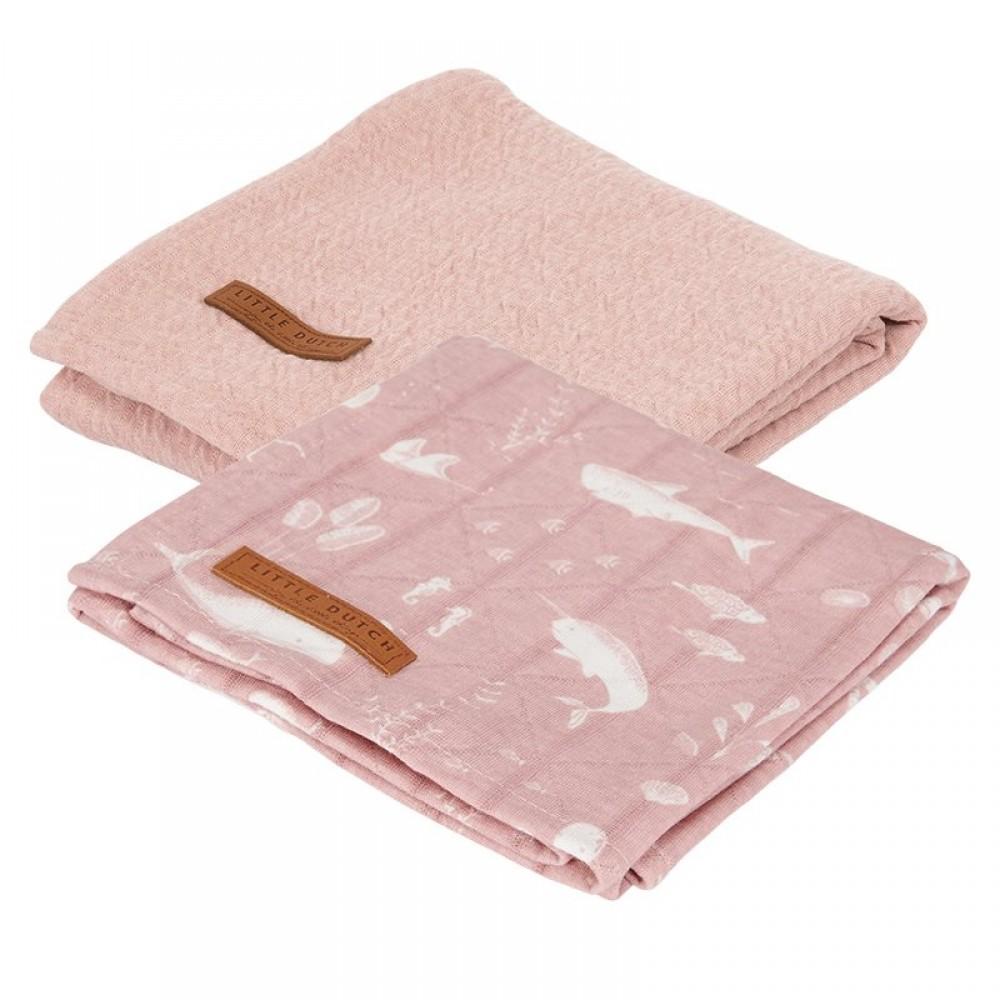 Бебешки Пелени 2 броя 70 х 70 cm Ocean & Pure Pink