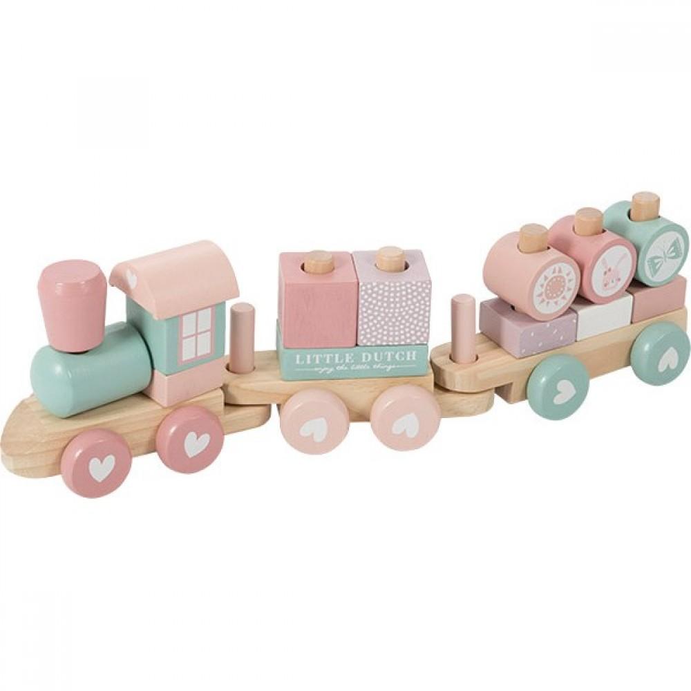 Дървено Влакче от Модули - Розово