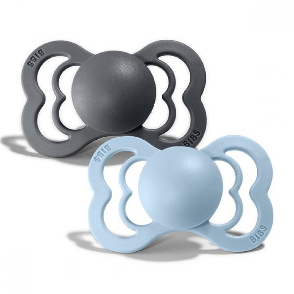 2 бр. Биберони BIBS Supreme Twin Pack, Iron/Baby Blue, 0-6 месеца