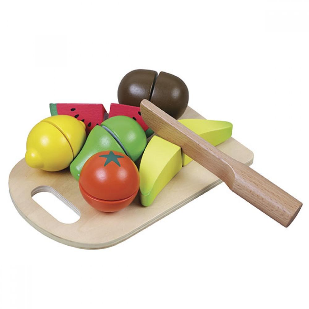 Комплект Дървени Плодове с Дъска и Нож