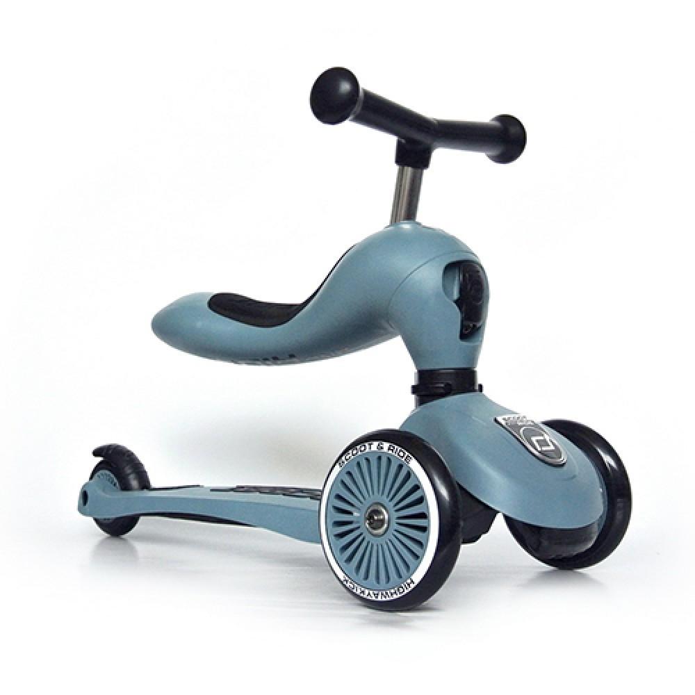 Детска тротинетка Scoot & Ride, 2 в 1: скутер и тротинетка, стоманено синя