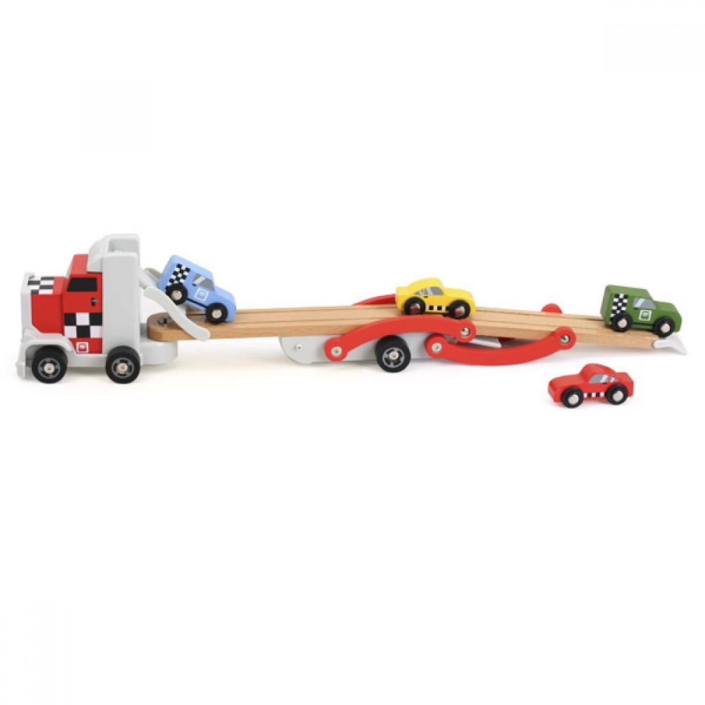 Дървен Автовоз с 4 колички